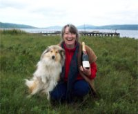 Me with my dog Jura and the champagne